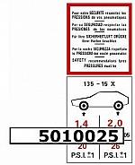 Aufkleber Reifendruck 135 - 15